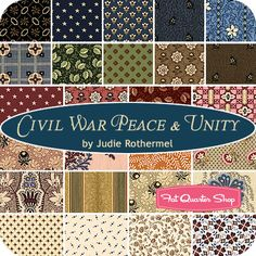 Civil War Peace & Unity Fat Quarter Bundle Judie Rothermel for Marcus Brothers Fabrics