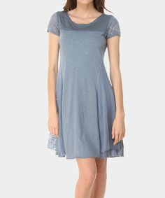 Look at this Denim Button Patch Scoop Neck Dress on #zulily today!