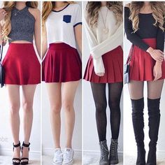 Girly outfits, outfits for teens, red skirt outfits, pretty outfits, sc Teen Fashion Outfits, Girly Outfits, Cute Fashion, Look Fashion, Outfits For Teens, Pretty Outfits, Dress Outfits, Fall Outfits, Girl Fashion
