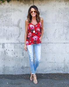 We can't get enough of florals! Especially when they are so unique and eye catching. Our gorgeous new red based Amani Tank is a new addition to our collection and possibly our most striking floral yet
