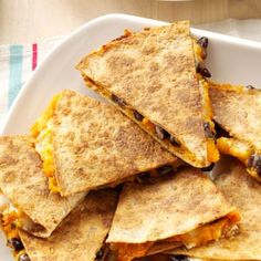 Sweet Potato and Bean Quesadillas - These turned out well. We used mozzarella cheese and added shredded chicken, and we both liked them!