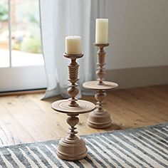 Turned Wood Candleholder  Serena and Lily  Perfect if you need something near your fireplace or a counter you need some height.