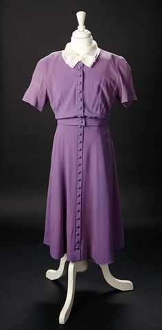 """Love, Shirley Temple, Take Two: From Schoolgirl to Storybook: 19 Lilac Silk Crepe Dress with Silk Organza Collar Worn by Shirley in the 1941 Film """"Kathleen"""""""