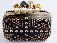 Alexander McQueen Knucklebox Clutch Black Gold Rivet Bag