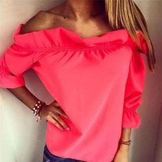 Women Blouse Puff Sleeve Slash Neck Solid Shirt Strapless Off Shoulder Ruffles