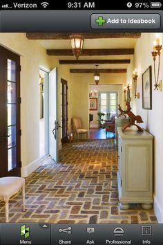 Brick floor and wooden beams