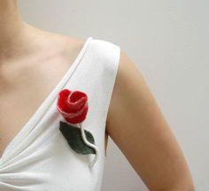 Red Rose felted flower wool brooch pink fuchsia by CityCrochet, $16.95