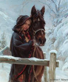 """""""Wrapped in Winter"""" (Oil painting) Artist: Daniel F. Wow Art, Alphonse Mucha, Equine Art, Horse Girl, Western Art, Beautiful Paintings, Female Art, Painting & Drawing, Knife Painting"""