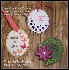 Yesterday I had a workshop where I featured Timeless Tags Thinlit Dies and the coordinating stamp set, That's the Tag. Available separately or as a bundle (order #144725), these tags offer so many variables and are fun to work with.