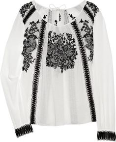 Oscar de la Renta - fashion inspired by romanian blouse Folk Fashion, Womens Fashion, Embroidered Blouse, Refashion, Dress To Impress, Vintage Outfits, Couture, My Style, Folk Style