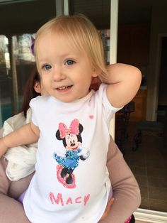 Personalized Minnie or Mickey painted toddler shirts or onesie.