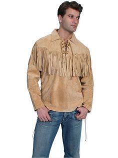 Scully Leather Mens Western Trapper L/S Fringe Shirt Bourbon Western Outfits, Western Shirts, Western Wear, Western Style, Western Apparel, Men's Leather Jacket, Leather And Lace, Leather Men, Suede Leather