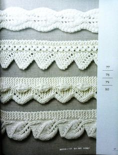 Como No Tempo da Vovó: PONTOS EM TRICÔ COM GRÁFICOS Baby Knitting Patterns, Lace Patterns, Knitting Stitches, Knitting Designs, Stitch Patterns, Crochet Patterns, Fall Knitting, Knit Edge, Crochet Borders