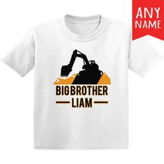 Digger Truck Big Brother Shirt Digger Truck Personalized Kids T-Shirt Birthday Gifts For Boys, Digger, Kids Shirts, Brother, Construction, Trucks, Big, Mens Tops, T Shirt