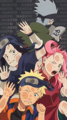 Anime: Naruto Personagens: Hatake Kakashi, Uzumaki Naruto, Haruno Sakura e Uchiha Sasuke Naruto Kakashi, Naruto Shippuden Sasuke, Anime Naruto, Naruto Team 7, Naruto Cute, Boruto, Gaara, Hinata, Naruto Wallpaper