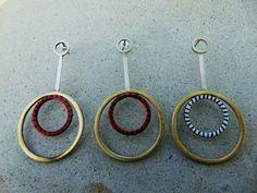Double Circle Earrings, Minimal Earrings, Geometric Jewelry, Handmade Jewelry, Enamel Earrings, Long Earrings, Modern Earrings, Gift For Her
