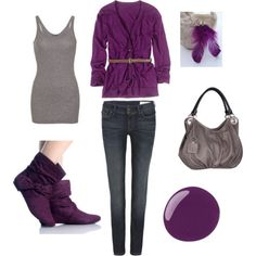 gray tank, purple cardigan with a skinny belt, skinny jeans, ankle boots and a gray purse - cute outfit I love everything but the shoes Purple Fall Outfits, Purple Boots, Cute Fashion, Fashion Outfits, Womens Fashion, Style Fashion, Fashion Ideas, Grey Outfit, Passion For Fashion