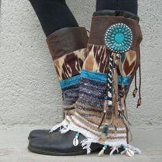 Desert Dancer- TALL Fringe Tribal Boot cuffs-