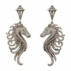 Sevan Bicakci Pink Sapphire & Diamond Seahorse Drop Earrings at Barneys.com