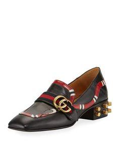 S1GJ1 Gucci Yoko Leather Snake Loafer, Black