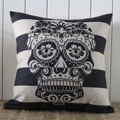 LINKWELL 45x45cm Skull Stripe Halloween All Hallows' Eve Gift Present Linen…
