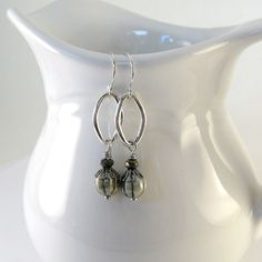 Green Luster Earrings Silver Link Czech Glass by CinLynnBoutique, $15.00