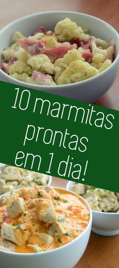 Como congelar 10 marmitas prontas para a semana feitas em 1 dia Learn how to prepare the whole family lunch box in 1 day! 0 ready-to-order lunchboxes and tips on how to build your shopping list, recipe combinations and freezing tips Low Carb Recipes, Diet Recipes, Healthy Recipes, Diet Meals, Diet Tips, Menu Dieta, Food Menu, Healthy Cooking, My Favorite Food