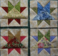 Branson Beauty quilt blocks, designed by Judy Martin. The pattern was first published in 2004 in her book, Knockout Blocks & Sampler Quilts. Found on Heather Pearson's web site.