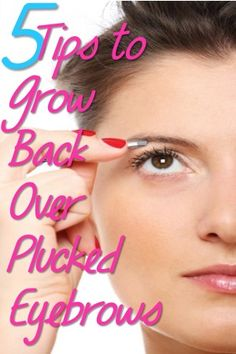 5 Tips to Grow Back Those Over Plucked Eyebrows. Rosemary and olive oil mixed together and gently rubbed into the eye brows will regrow eye brows fast.
