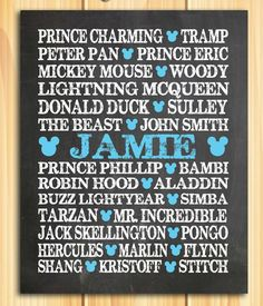 Famous Disney Heroes and Princes PERSONALIZED 8x10 PRINT - Cyan / Red