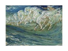 "Neptune's Horses, Illustration for ""The Greek Mythological Legend,"" Published in London, 1910 Giclee Print by Walter Crane at Art.com"