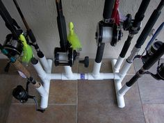 do it yourself pvc fishing rod holder | Rod racks. 8,10, and 17 place. truck bed mount available. Bent butt ...