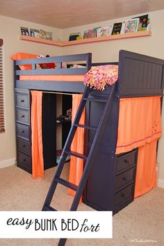 Who knew that this annoying space could turn into such a fun bunk bed fort I love how she turned an annoying bunk bed into a fun bunk bed fort for her daughter! Bunk Bed Fort, Cool Bunk Beds, Bunk Beds With Stairs, Kids Bunk Beds, Storage Bunk Beds, Bunk Bed Desk, Boys Bunk Bed Room Ideas, Cool Beds For Boys, Lofted Beds