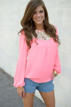 Sheer Paisley Blouse, Neon Pink   www.themintjulepboutique.com