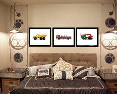Three Vintage Toy Trucks on White Photo Prints by shawnstpeter