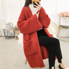2018 Women Solid Thick Knitted Cardigan Autumn Winter Pocket Coarse Line Long Sweaters Flare Sleeved Loose Coats Chunky Knit Cardigan, Long Cardigan, Long Paragraphs, Hijab Style, Knit Fashion, Long Sweaters, Cardigans For Women, Pulls, Casual