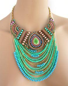 Collier-Plastron muticolore et Sautoir  vert - Céramique, Strass  et perles de la boutique 5LADYPLAZZA sur Etsy