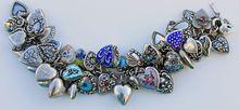 1940s Sterling Heart Charm Bracelet 49 Charms Lampl