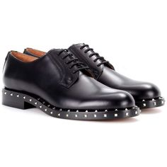 Valentino Valentino Garavani Embellished Leather Derby Shoes ($1,175) ❤ liked on Polyvore featuring shoes, oxfords, brogues, flat shoes, no, leather flat shoes, black flat shoes, black flats, black oxfords and black leather flats