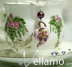 sterling silver pink teapot / coffee pot pendant, porcelain, fashion pendant and necklace, sold.