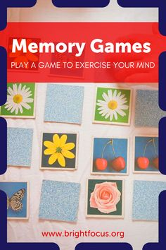 Sometimes games are just for fun. And if your brain strengthens in the process, all the better! Check them out on our website. Please note that these memory games are not tests for Alzheimer's disease. If you or a member of your family are concerned about memory problems, it is important that you discuss these issues with an appropriate professional. #Memory #Alzheimers #Games #BoardGames #CardGames #Mind #Exercise #Crossword #Pictionary #MatchingGames #GameDay #Play Dementia Awareness, Alzheimer's And Dementia, Memory Problems, Healthy Aging, Memory Games, Matching Games, Alzheimers, Crossword, Learn To Read