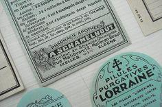vintage aqua labels