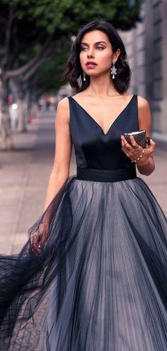 magnifique robe de soirée pour mariage avec chiffon noir