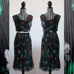 90s black floral party dress // cowl neck // crimp skirt// size XS // free shipping in Australia