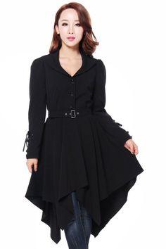 Hankerchief Hem Corsetted Cuff Black Gothic Jacket Coat