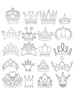 Set of 20 Doodle Crowns Graphics Clipart Images by scrapitsideways