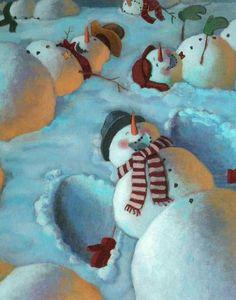 Snowman Snow Angels