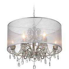 Possini Euro Organza with Silver Pendant Light Crystal Light, Wire Lights, Elegant Chandeliers, Silver Frame, Silver Pendant Lighting, Pendant Light, Possini Euro Design, Drum Shade, Chandelier