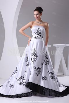 Black/ White Strapless Puddle Train Satin Church A-line Wedding Dress Wholesale Price: US$247.99