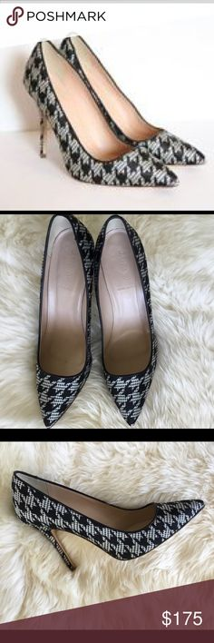 """J Crew Roxie Black Houndstooth Pumps Size 10 1/2 J Crew Roxie Printed Black Houndstooth Pumps. 4 1/8"""" heel. Linen upper, leather lining and sole.  Made in Italy. Only worn once. Perfect condition. Comes with dust bag. J. Crew Shoes Heels"""